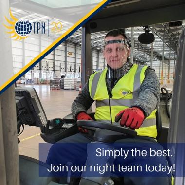 Fork-lift drivers for superb night-shift team